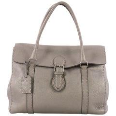 Fendi Selleria Linda Satchel Pebbled Leather Large