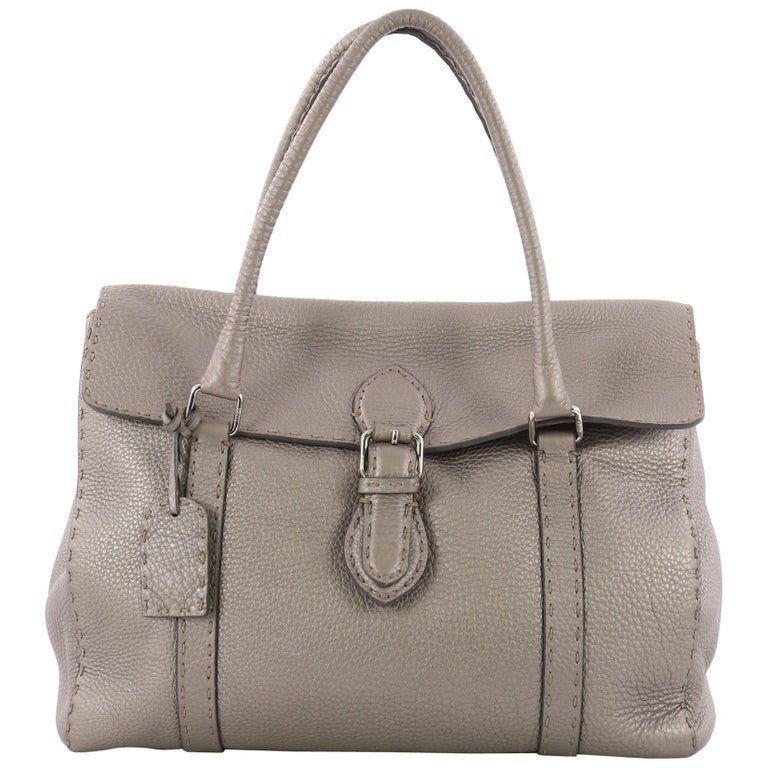 Fendi Selleria Linda Satchel Pebbled Leather Large For Sale