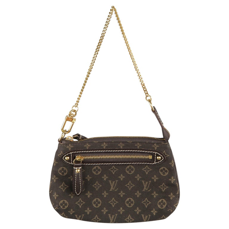 Louis Vuitton Brown Monogram Fabric Gold Chain Strap Mini Purse Wallet Pouch Bag For