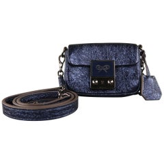 ANYA HINDMARCH Metallic Navy Blue Leather TINY TIM Mini Shoulder Bag