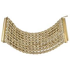 CHANEL Vintage Antique Gold Brass Rhinestone Chain Cuff Bracelet, 1950s