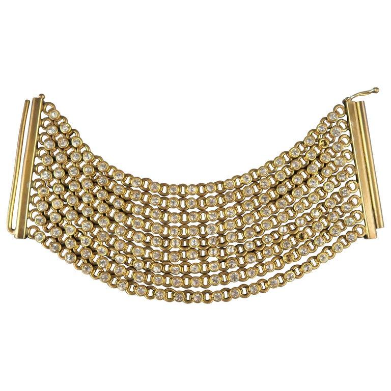 CHANEL Vintage Antique Gold Brass Rhinestone Chain Cuff Bracelet, 1950s For Sale