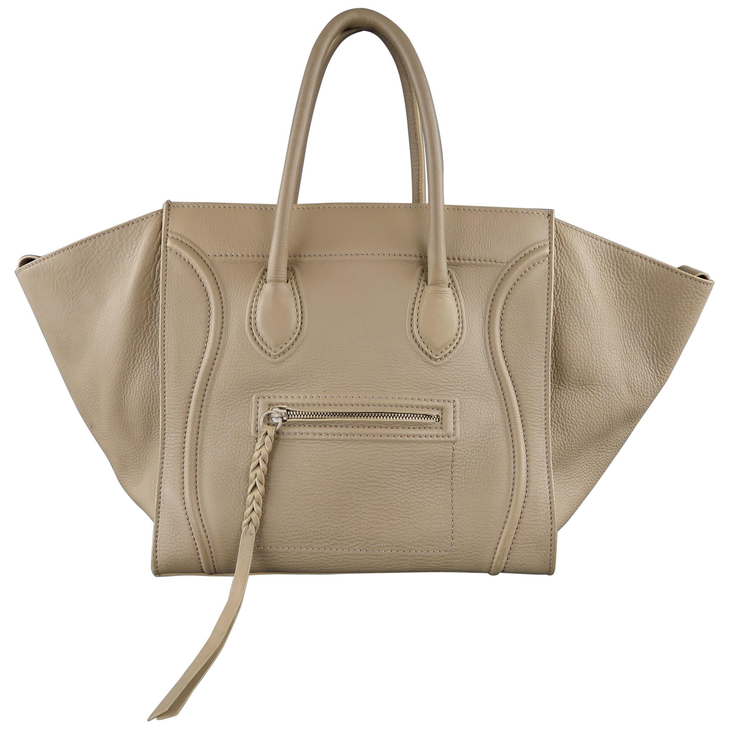 792b74bf1a CELINE Taupe Pebble Grain Leather PHANTOM Medium Tote Handbag at 1stdibs
