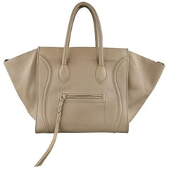 CELINE Taupe Pebble Grain Leather PHANTOM Medium Tote Handbag