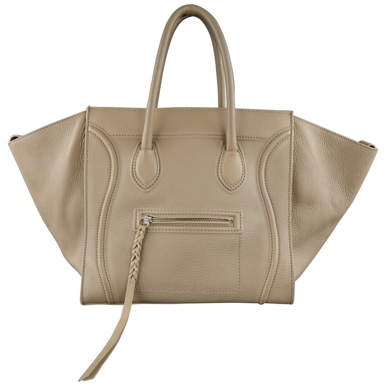 CELINE Taupe Pebble Grain Leather PHANTOM Medium Tote Handbag