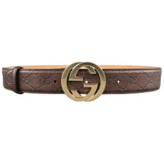 GUCCI Brown Guccissima Monogram Embossed Leather Gold GG Belt