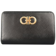 SALVATORE FERRAGAMO Black Saffiano Leather Gold Gancini Wallet