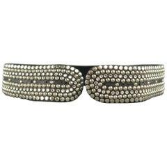 Vintage KIPPYS Black Silver & Rhinestone Studded Leather Belt Strap