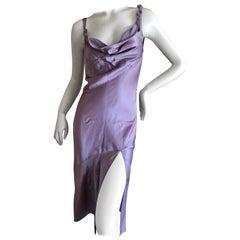 John Galliano 1990's Label Lavender Bias Cut Dress with Cowl Drape