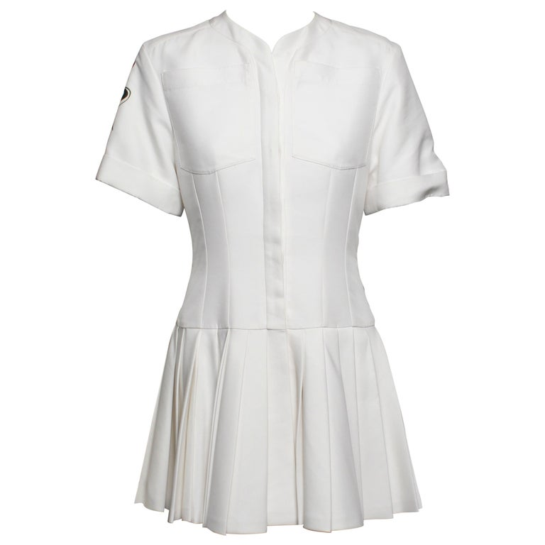 16e9f257f36 Christian Dior White Pleated Mini Dress From the 2016 Collection For Sale