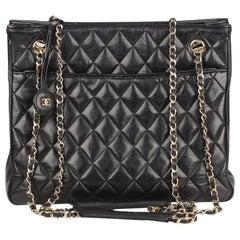 Chanel Vintage Black Quilted Leather Shoulder Bag Tote