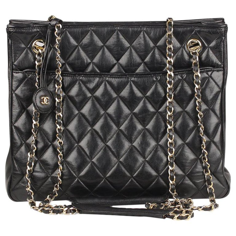 aeee713c6615 Chanel Vintage Black Quilted Leather Shoulder Bag Tote For Sale. This bag  will come with a Certificate of Authenticity provided by Entrupy ...
