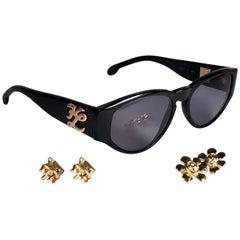 New Vintage Karl Lagerfeld L4607 Black Interchangeable Charms 1990  Sunglasses
