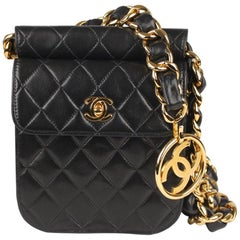 Chanel Vintage Rare 1992 Black Quilted Waist Bag with Chunky Chain