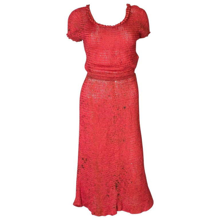 A Vintage 1940s Red And Black Ribbon Work Knit Dress For Sale At 1stdibs