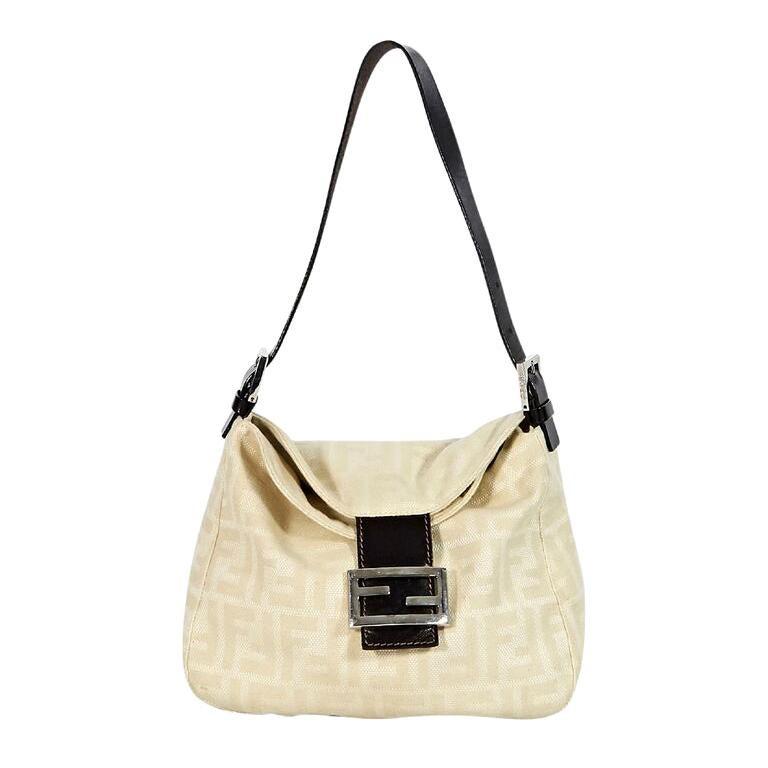 e9c9cc9598a5 Cream Fendi Zucca Monogram Shoulder Bag at 1stdibs