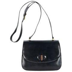 Black Vintage Gucci Leather Crossbody Bag
