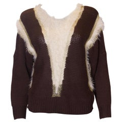 Vintage Brown , Gold and White Jumper