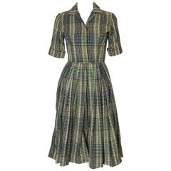 A vintage 1950s gingham striped cotton day dress by Neiman Marcus