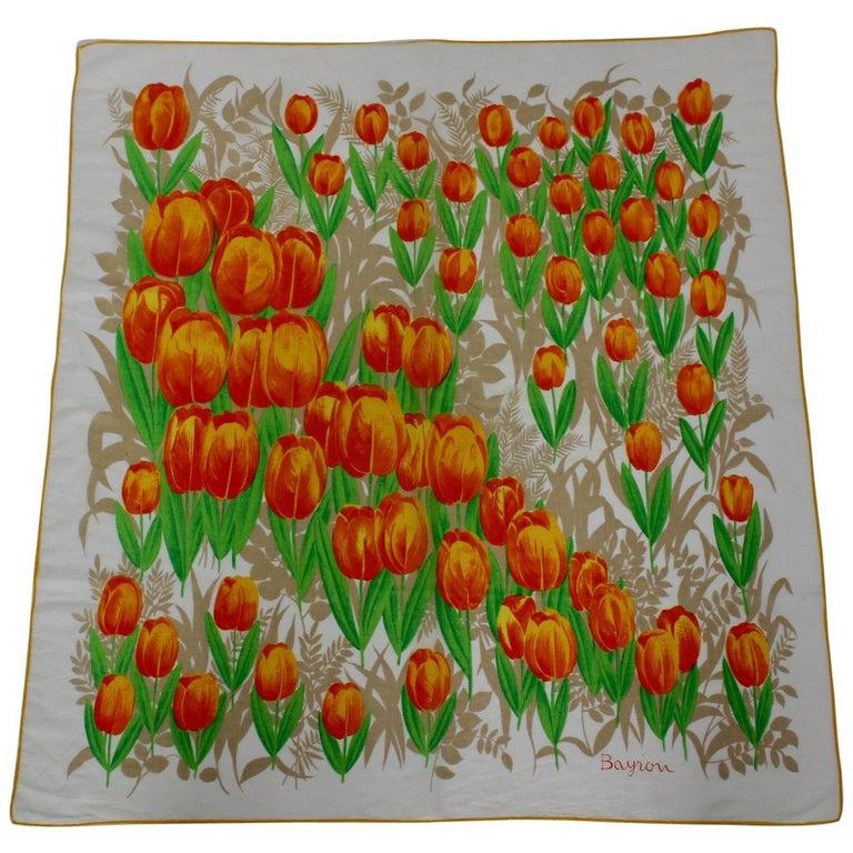 Bayron Tulipan Batist Vintage Scarf 1960s