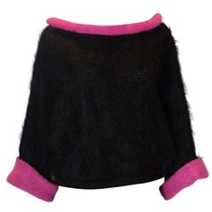 Vintage Black and Pink Mohair Jumper