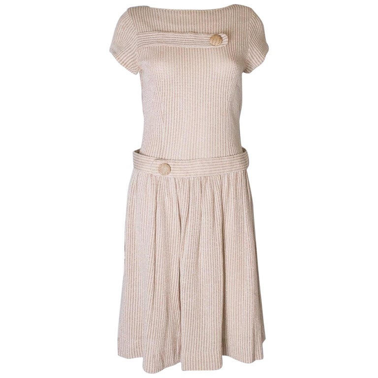 A vintage 1950s cream knitted drop waist glitter thread dress size S Small  For Sale