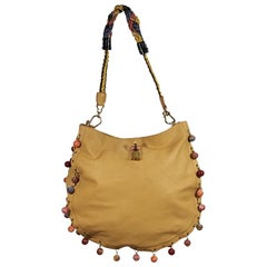 Tan Marc Jacobs Leather Beaded Shoulder Bag