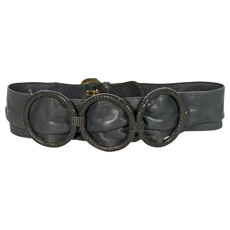 798f54bb784 Grey Vintage Gucci Leather and Snakeskin Belt For Sale at 1stdibs