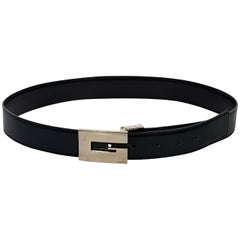 Black Gucci Leather Square Buckle Belt
