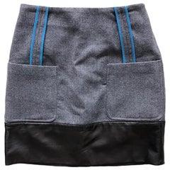 Fendi Wool and Leather Mini Skirt