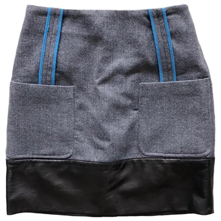 Fendi Wool and Leather Mini Skirt For Sale
