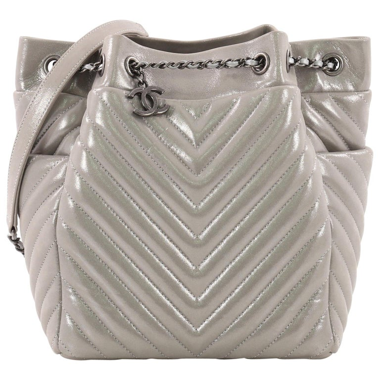 3ea8d13f7b7d Chanel Urban Spirit Drawstring Bag Iridescent Chevron Calfskin Small For  Sale