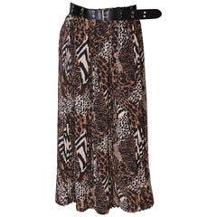 Vintage Leopard Print Skirt with Pleats
