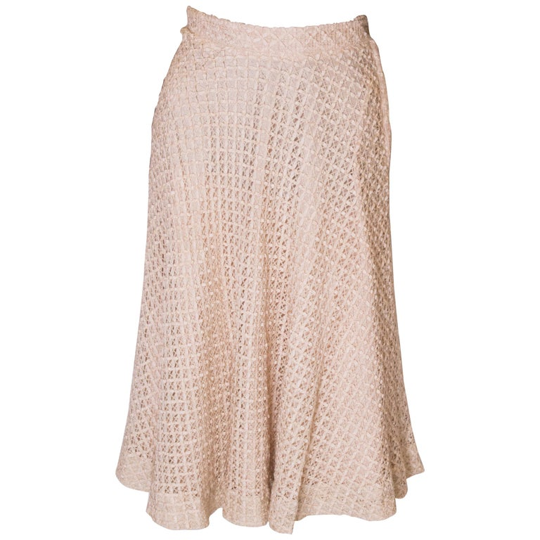 A vintage 1950s cream ribbon woven swing skirt  For Sale