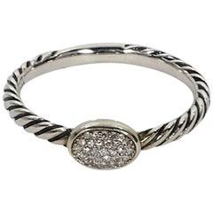 Silver David Yurman Pave Diamond Stacking Ring