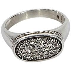 Silver David Yurman Oval Diamond Cocktail Ring