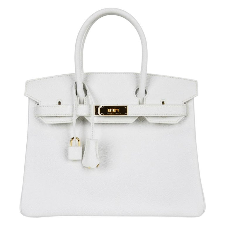 d561d54017a Hermes Birkin 30 Bag White Epsom Leather Gold Hardware New For Sale ...