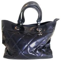 Chanel Biarritz Tote Bag Blue Vinyl