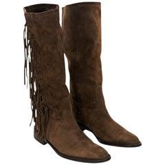 Brown Vintage Coach Suede Fringe Boots