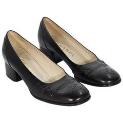 Brown Chanel Leather Kitten Heel Pumps