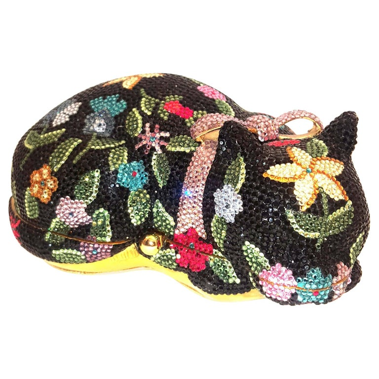 Judith Leiber Sleeping Cat Jeweled Crystal Minaudière Clutch Bag For Sale