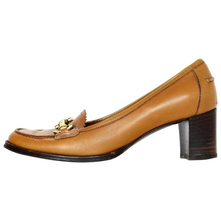 Salvatore Ferragamo Tan Leather Loafer Buckle Heels Sz 7 C (Wide)