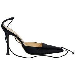 Black Manolo Blahnik Satin Ankle-Wrap Pumps