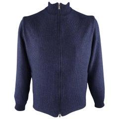 LORO PIANA 44 Navy Knitted Cashmere Zip UP Jacket
