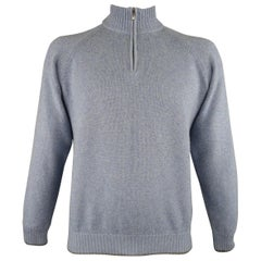 ERMENEGILDO ZEGNA Size 42 Blue & Grey Knitted Cashmere Half Zip Sweater
