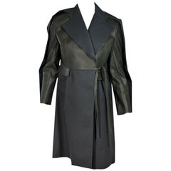 Multicolor Balenciaga Leather & Wool Trench Coat