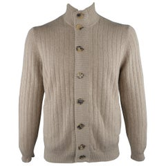 BRUNELLO CUCINELLI Size 42 Khaki Knitted Cashmere Buttoned Cardigan Sweater