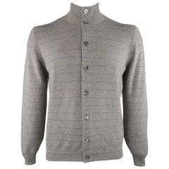 BRUNELLO CUCINELLI Size 42 Grey Striped Cashmere Buttoned Cardigan Sweater