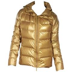 Gold Moncler Down Puffer Coat