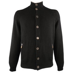 BRUNELLO CUCINELLI Size 44 Black Cashmere Buttoned Cardigan Sweater